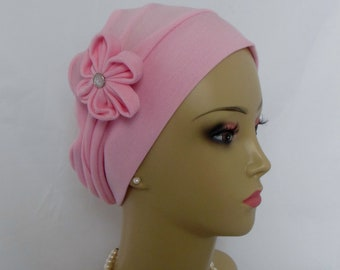 3-Seam Pink Cotton Rayon Jersey Turban, Lightweight Lady Chemo headwear, Toddler Cancer Patient Hair Cover, Tichel Mitpachat Cap Head 18-21""