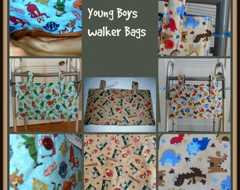 "Boys Walker Bag Totes, 11 X 19""  Machine Washable Special Needs Child Walker Bag Orgainizer"