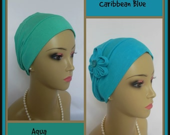 3-Seam Aqua Blue Jersey Turban Lightweight Chemo Headwear, Child Adult Cancer Patient Hair Cover, Tichel Mitpachat Cap, Alopecia Beach Cap
