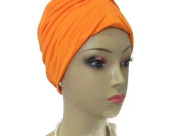 Tango Orange Front Knotted  Jersey Turban, Chemo Sleep Headwear, Cancer Patient Hat, Hair Cover, Tichel Head Wrap, Yoga Cap Medium - Ex Lg