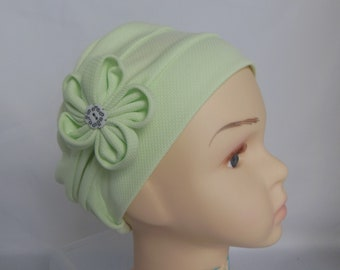 Toddler Jersey Pillbox Waffle Texture Key Lime Cap, Child Chemo Headwear