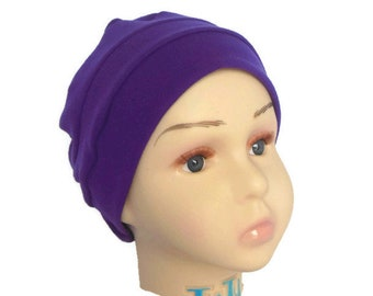 3 Seam Purple Cotton Jersey Cap, Toddler Chemo Headwear,  Cancer Alopecia  Hair Cover
