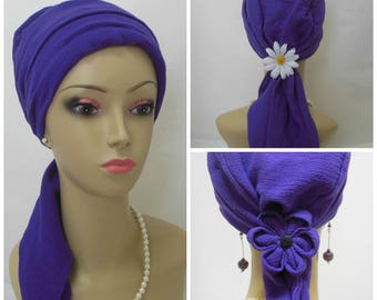 Purple Gauze Scarf Turban Volumizeer Chemo Headwear, Cancer Patient Hat, Alopecia Cover,