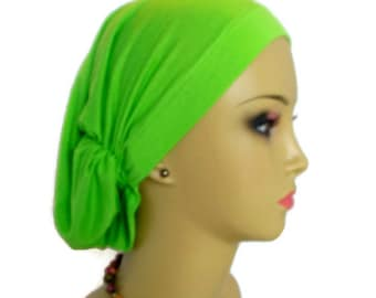 Hair Snood Apple Green Turban, Volumizer Chemo Headwear, Cancer Patient Hat, Alopecia Hat