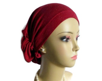 Hair Snood Silver Dust Red Knit Turban, Volumizer Bling Chemo Headwear, Cancer Patient Hat