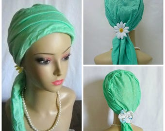 """Mint Green Crinkled Jersey Scarf Turban 15"""" Ties, Volumizer Chemo Headwear, Cancer patient Hat, Alopecia Head Cover, Tichel Mitpachat"""