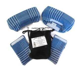 Crutch Pads Blue Plaid Fleece, Crutch  Phone Tote, Toe Volleyball Cast Sock, Toe Warmer