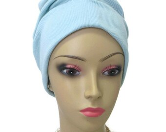 Smokey Blue Front Knotted Ribbed Jersey Turban,  Chemo Sleep Cap Headwear, Cancer Patient Hat, Hair Covering, Tichel, Yoga Cap Large- XL