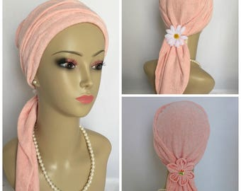 Scarf Turban Peach Summer Sweater Knit Volumizer Chemo Headwear, Cancer Patient Hat Gift