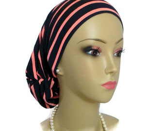 Hair Snood Coral Navy Stripe Knit Turban, Volumizer Chemo Headwear, Cancer Patient Ha, Tichel & Mitpachat Head Wrap, Beach Head Wear