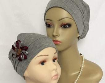 Pillbox Silver Gray Rayon Jersey  Turban,  Adult & Child Chemo Headwear, Toddler Beach Cap