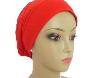 Extra Large 3-seam Turban Red Jersey Lightweight Chemo Headwear, Cancer Patient Hair Cover Gift, Tichel Mitpachat Cap, Alopecia Head Wear