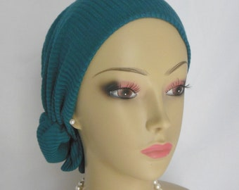 Extra Large Hair Snood Turquoise Jersey Turban, Volumizer Chemo Headwear, Cancer Hat,