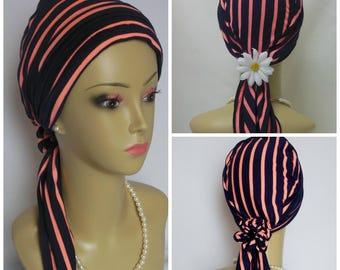 Jersey Scarf Turban: Coral Navy Stripes Chemo Headwear, Cancer Patient Hat, Tichel
