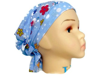 Girl Hair Snood, Cotton Jersey Turban Butterflies, Child Adult Volumizer Chemo Headwear
