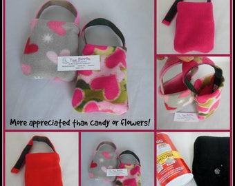 Pink Fleece Heart Foot Cast Toe Bootie, Toe Warmer Sock, Liquid Repellent Protection
