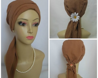 Acorn Brown Scarf Turban Gauze Volumizer Chemo Headwear, Cancer Patient Hat Hair Cover