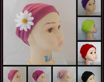 "Toddler Solid  3-Seam Jersey Turban Cap, Child Sensitive Scalp Cap, Girl Chemo Headwear, Cancer Patient Hat,  Beach Cap 18"" -20"" Head"