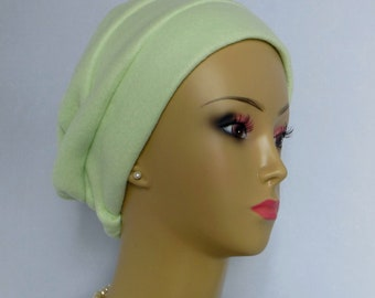 3-seam Lime Green Fleece Turban Chemo Headwear, Cancer Patient Hair Cover Med- Large