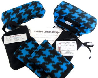 Blue Black Houndstooth Fleece Crutch Pads, Crutch Phone Tote Bag, Cast Sock Toe Bootie