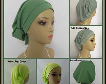 Hair Snood  Green Satin Jersey Turban, Chemo Volumizer Headwear, Alopecia Head Wear,Tichel