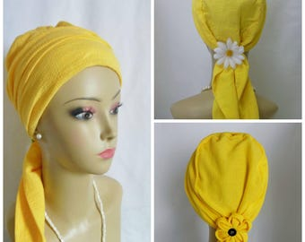 Yellow Gauze Scarf Turban, Volumizer Chemo Headwear, Cancer Patient Hat, Alopecia, Tichel