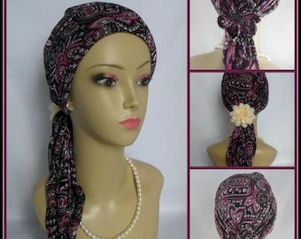 Jersey Scarf Turban Paisley Mauve Chemo Headwear, Volumizer Tichel Mitpachat Wrap
