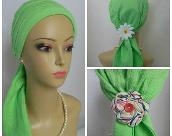 Gauze Scarf Turban Mint Green  Chemo Volumizer Headwear,  Cancer Patient Hat, Tichel