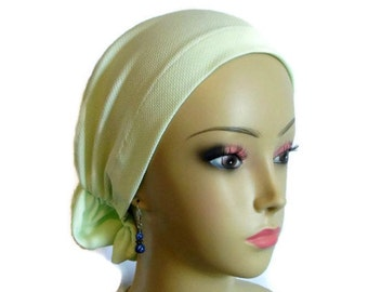Hair Snood Key Lime Turban, Volumizer Chemo Headwear, Cancer Patient Hat,Alopecia  Cover