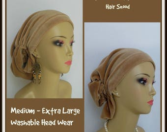 Camel Tan Stretchy Velvour Hair Snood Cancer Patient Hat, Hair Covering Med-Ex large Tichel, Volumizer Chemo Headwear Reg- Extra Length