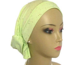 "Hair Snood ""Funfettie"" Green Turban, Volumizer Chemo Headwear, Cancer Patient Hat"