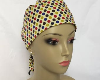 Ponytail Scrub Cap: Dots on Yellow Nurse Graduation Gift, Surgical Scrub Hat, OR Scrub hats, Chemo Headwear Great Fit With/without Hair