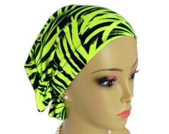 Snood Turban: Neon Green Ferns on Black Turban   Volumizer Chemo Headwear   Hair Covering   Tichel & Mitpachat Head Wrap   Beach Head Wear