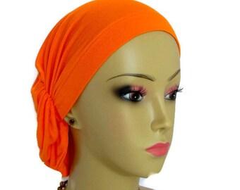 Hair Snood Orange Turban, Chemo Headwear, Cancer Patient Hat,Alopecia Hair Cover, Tichel