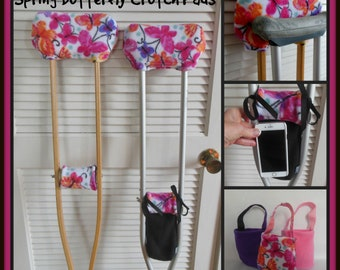 Butterflies on White Fleece Crutch Pads, Crutch Phone Tote, Padded Crutch Covers, Toe Bootie Cast Sock, Washable Crutch Pads, Stops Arm Pain