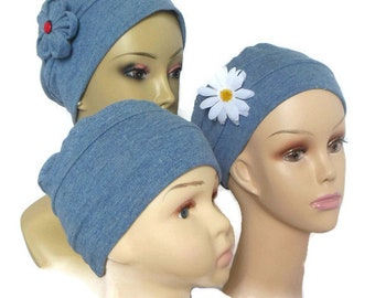3-Seam Cap, Toddler Child Adult Blue Gray Cotton Knit Turban Chemo Headwear  Cancer Cap,