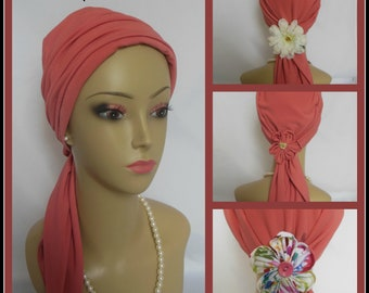 Coral Satin Jersey Scarf Turban,  Volumizer Chemo Headwear, Cancer Patient Hat Hair Cover