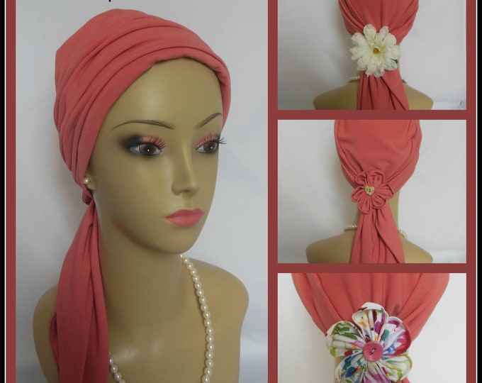 Featured listing image: Coral Satin Jersey Scarf Turban,  Volumizer Chemo Headwear, Cancer Patient Hat Hair Cover
