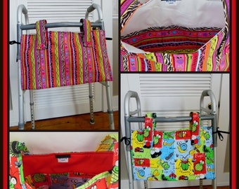 "Walker Tote Funny Bugs Print Child 20"" X 11"" Walker Organizer Pockets Inside & Out"