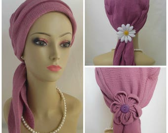 Heirloom Mauve Rose Gauze Scarf Turbans Chemo Volumizer Headwear  Tichel Mitpachat Cap