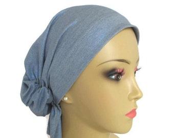 Hair Snood Touch Of Metallic Blue Gray Jersey Turban, Volumizer Chemo Headwear