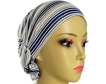 Hair Snood: Navy & Cream Striped, Comfortable Volumizer Chemo Volumizer Headwear, Tichel