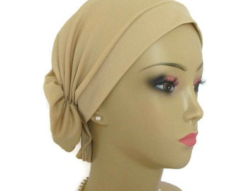 Hair Snood Vegas Gold Satin Jersey Chemo Headwear, Cancer Patient Hat ,Alopecia Hair Cover