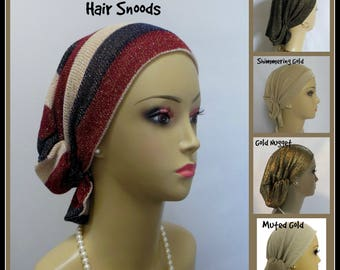 Gold Bling Hair Snood, Volumizer Chemo Headwear, Cancer Patient Hat, Holiday Hair Covering
