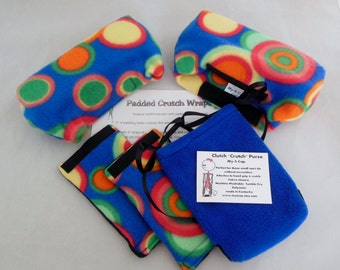 Colorful Circles On Royal Blue Crutch Pads, Crutch Tote ,Toe Bootie Volleyball Cast Sock