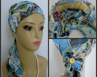 Pastel Stamp Print Gauze Scarf Turban 13Ties, Chemo Volumizer Headwear, Cancer Patient Hat,