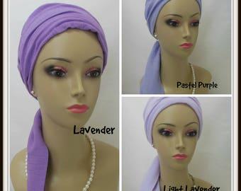 Scarf Turbans Lavender Gauze Volumizer Chemo Headwear, Cancer Patient Hat, Hair Tichel