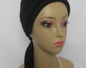 Dark Brown Jersey Scarf Turban, Volumizer Chemo Headwear, Cancer Patient Hat