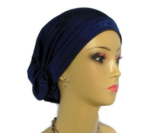 Hair Snood Navy Knit  Turban Volumizer Chemo Headwear, Ex Length Cancer Patient Hat,