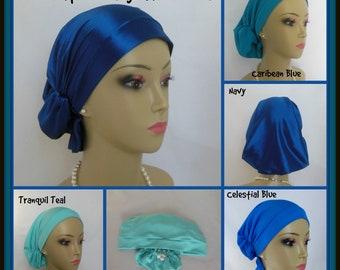 Hair Snood Blue Satin Volumizer Chemo Alopecia Headwear, Cancer Patient Gift, Tichel